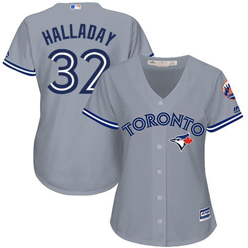 Women's Majestic Toronto Blue Jays #32 Roy Halladay Replica Grey Road MLB Jersey