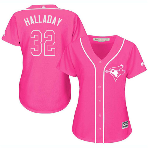 Women's Majestic Toronto Blue Jays #32 Roy Halladay Replica Pink Fashion Cool Base MLB Jersey