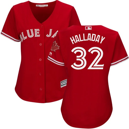 Women's Majestic Toronto Blue Jays #32 Roy Halladay Replica Scarlet Alternate MLB Jersey