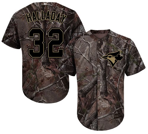 Youth Majestic Toronto Blue Jays #32 Roy Halladay Authentic Camo Realtree Collection Flex Base MLB Jersey