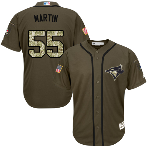 Men's Majestic Toronto Blue Jays #55 Russell Martin Authentic Green Salute to Service MLB Jersey