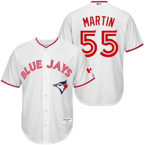 Men's Majestic Toronto Blue Jays #55 Russell Martin Authentic White 2015 Canada Day MLB Jersey