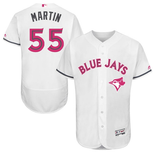 Men's Majestic Toronto Blue Jays #55 Russell Martin Authentic White 2016 Mother's Day Fashion Flex Base MLB Jersey
