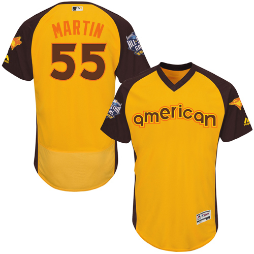 Men's Majestic Toronto Blue Jays #55 Russell Martin Yellow 2016 All-Star American League BP Authentic Collection Flex Base MLB Jersey