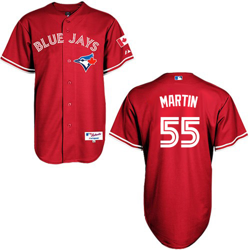 Women's Majestic Toronto Blue Jays #55 Russell Martin Authentic Red Canada Day MLB Jersey