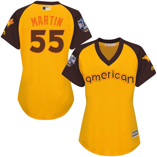 Women's Majestic Toronto Blue Jays #55 Russell Martin Authentic Yellow 2016 All-Star American League BP Cool Base MLB Jersey