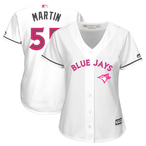 Women's Majestic Toronto Blue Jays #55 Russell Martin Replica White Mother's Day Cool Base MLB Jersey