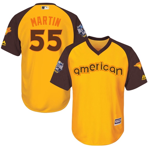 Youth Majestic Toronto Blue Jays #55 Russell Martin Authentic Yellow 2016 All-Star American League BP Cool Base MLB Jersey