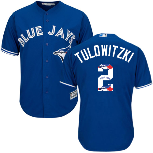 Men's Majestic Toronto Blue Jays #2 Troy Tulowitzki Authentic Blue Team Logo Fashion MLB Jersey