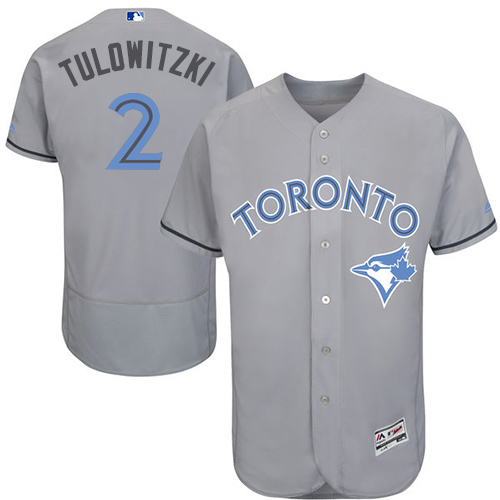 Men's Majestic Toronto Blue Jays #2 Troy Tulowitzki Authentic Gray 2016 Father's Day Fashion Flex Base MLB Jersey