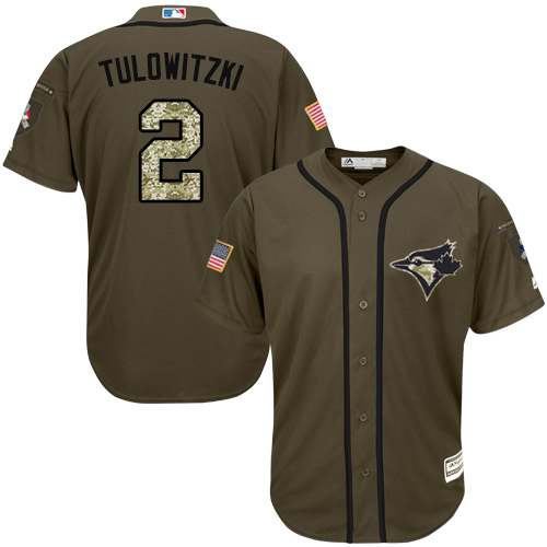 Men's Majestic Toronto Blue Jays #2 Troy Tulowitzki Authentic Green Salute to Service MLB Jersey