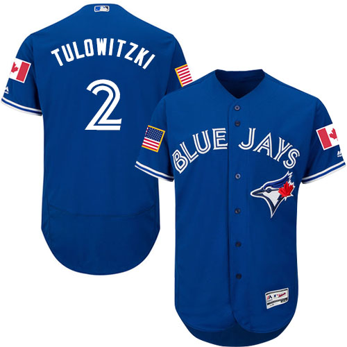 Men's Majestic Toronto Blue Jays #2 Troy Tulowitzki Authentic Royal Blue Fashion Stars & Stripes Flex Base MLB Jersey