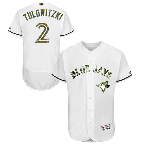 Men's Majestic Toronto Blue Jays #2 Troy Tulowitzki Authentic White 2016 Memorial Day Fashion Flex Base MLB Jersey
