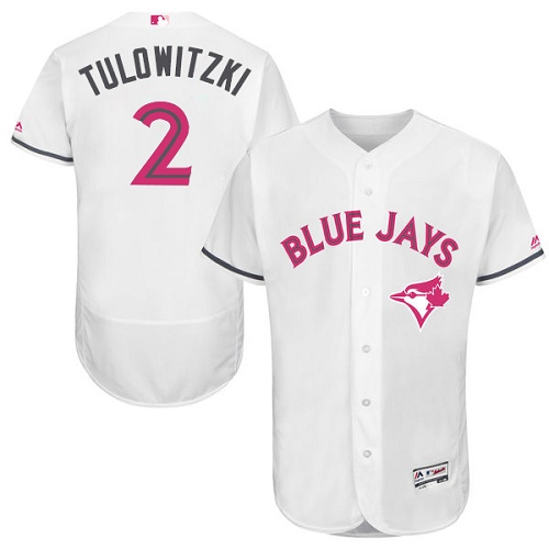 Men's Majestic Toronto Blue Jays #2 Troy Tulowitzki Authentic White 2016 Mother's Day Fashion Flex Base MLB Jersey