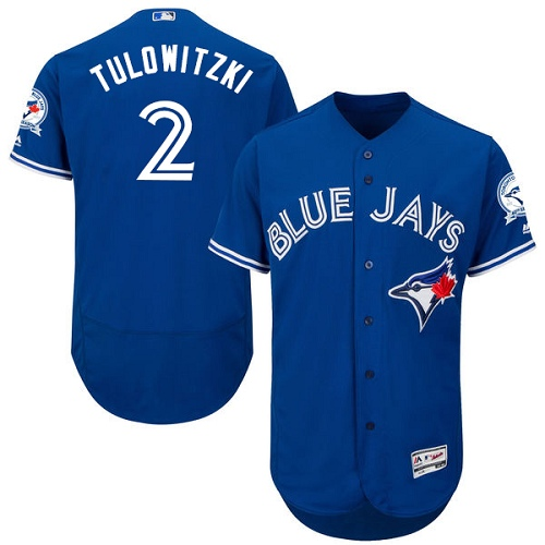 Men's Majestic Toronto Blue Jays #2 Troy Tulowitzki Blue Alternate Flex Base Authentic Collection MLB Jersey