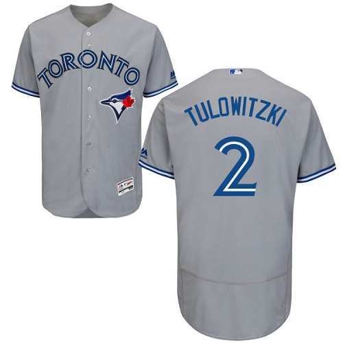 Men's Majestic Toronto Blue Jays #2 Troy Tulowitzki Grey Road Flex Base Authentic Collection MLB Jersey