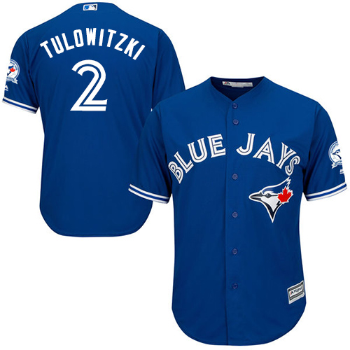 Men's Majestic Toronto Blue Jays #2 Troy Tulowitzki Replica Blue Alternate 40th Anniversary Patch MLB Jersey