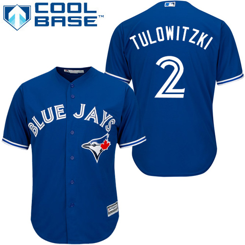 Men's Majestic Toronto Blue Jays #2 Troy Tulowitzki Replica Blue Alternate MLB Jersey