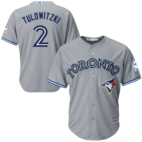 Men's Majestic Toronto Blue Jays #2 Troy Tulowitzki Replica Grey Road 40th Anniversary Patch MLB Jersey