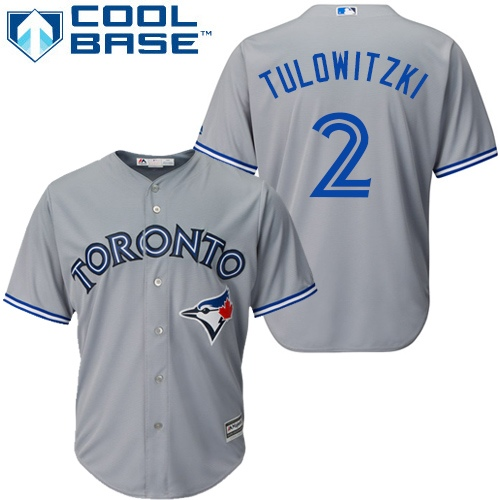 Men's Majestic Toronto Blue Jays #2 Troy Tulowitzki Replica Grey Road MLB Jersey