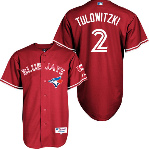 Men's Majestic Toronto Blue Jays #2 Troy Tulowitzki Replica Red Canada Day MLB Jersey