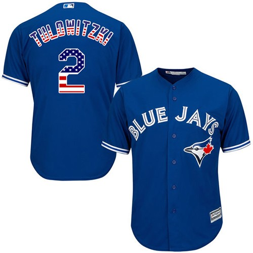 Men's Majestic Toronto Blue Jays #2 Troy Tulowitzki Replica Royal Blue USA Flag Fashion MLB Jersey