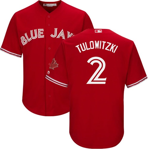 Men's Majestic Toronto Blue Jays #2 Troy Tulowitzki Replica Scarlet Alternate Cool Base MLB Jersey