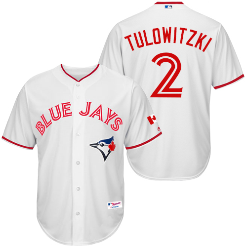 Men's Majestic Toronto Blue Jays #2 Troy Tulowitzki Replica White 2015 Canada Day MLB Jersey
