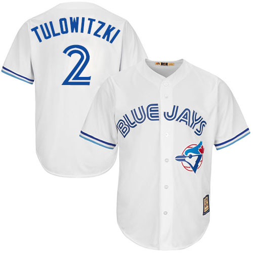 Men's Majestic Toronto Blue Jays #2 Troy Tulowitzki Replica White Cooperstown MLB Jersey