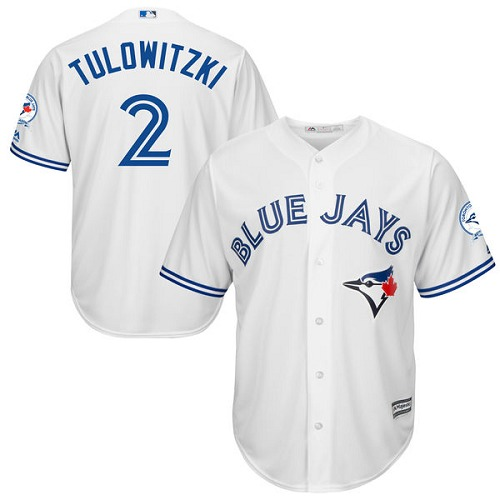 Men's Majestic Toronto Blue Jays #2 Troy Tulowitzki Replica White Home 40th Anniversary Patch MLB Jersey