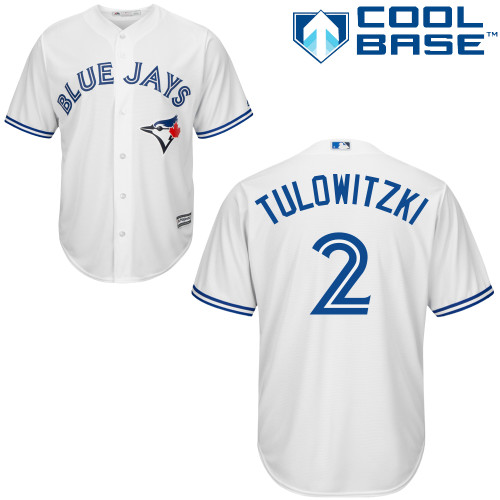 Men's Majestic Toronto Blue Jays #2 Troy Tulowitzki Replica White Home MLB Jersey