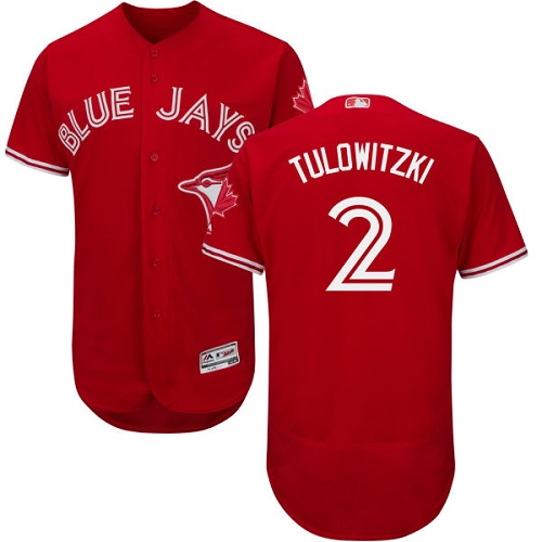 Men's Majestic Toronto Blue Jays #2 Troy Tulowitzki Scarlet Flexbase Authentic Collection Alternate MLB Jersey