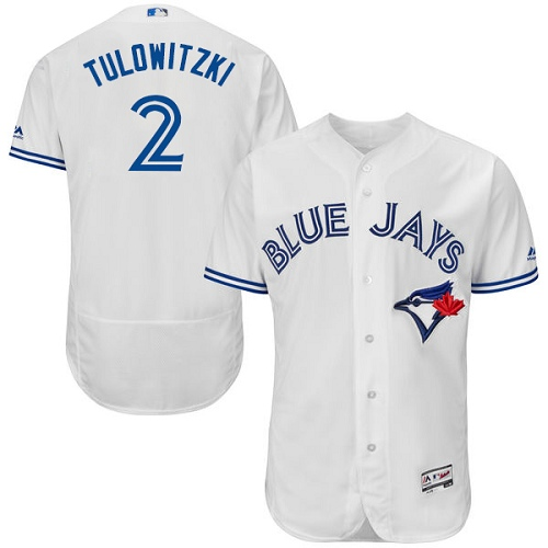Men's Majestic Toronto Blue Jays #2 Troy Tulowitzki White Home Flex Base Authentic Collection MLB Jersey