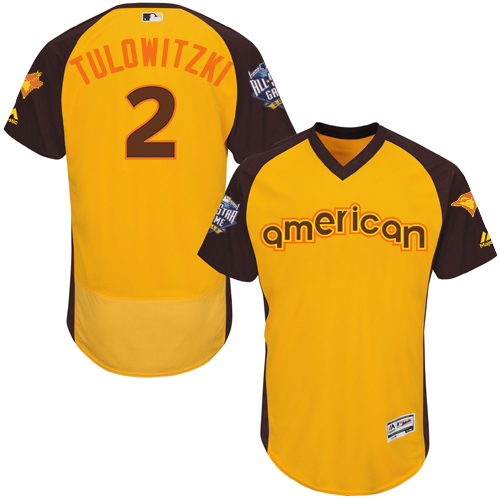 Men's Majestic Toronto Blue Jays #2 Troy Tulowitzki Yellow 2016 All-Star American League BP Authentic Collection Flex Base MLB Jersey