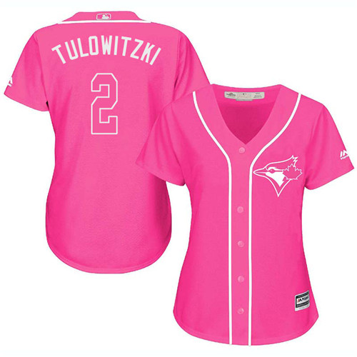Women's Majestic Toronto Blue Jays #2 Troy Tulowitzki Authentic Pink Fashion Cool Base MLB Jersey