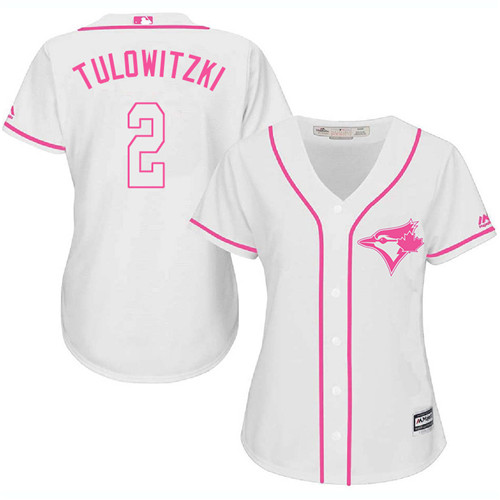 Women's Majestic Toronto Blue Jays #2 Troy Tulowitzki Replica White Fashion Cool Base MLB Jersey