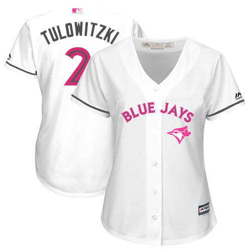 Women's Majestic Toronto Blue Jays #2 Troy Tulowitzki Replica White Mother's Day Cool Base MLB Jersey