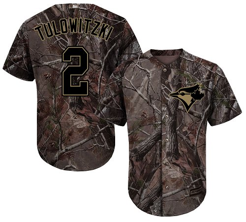 Youth Majestic Toronto Blue Jays #2 Troy Tulowitzki Authentic Camo Realtree Collection Flex Base MLB Jersey
