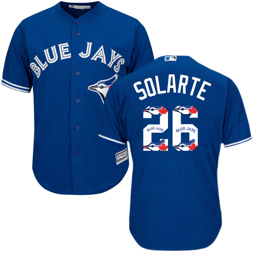 Men's Majestic Toronto Blue Jays #26 Yangervis Solarte Authentic Blue Team Logo Fashion MLB Jersey