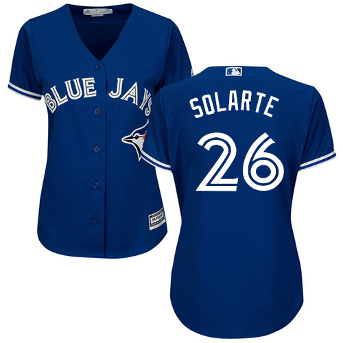 Women's Majestic Toronto Blue Jays #26 Yangervis Solarte Authentic Blue Alternate MLB Jersey