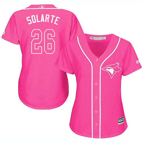 Women's Majestic Toronto Blue Jays #26 Yangervis Solarte Authentic Pink Fashion Cool Base MLB Jersey