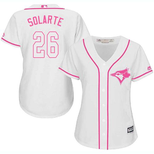 Women's Majestic Toronto Blue Jays #26 Yangervis Solarte Authentic White Fashion Cool Base MLB Jersey