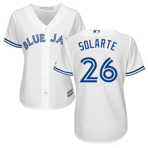 Women's Majestic Toronto Blue Jays #26 Yangervis Solarte Authentic White Home MLB Jersey