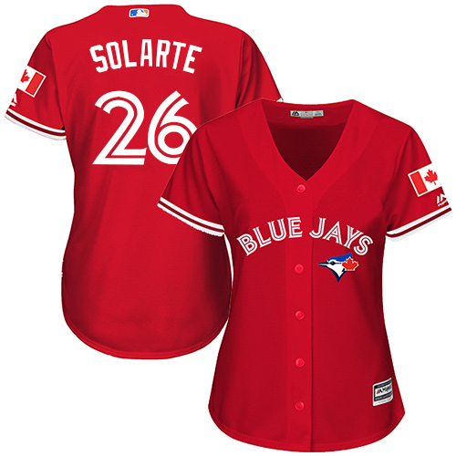 Women's Majestic Toronto Blue Jays #26 Yangervis Solarte Replica Scarlet Alternate MLB Jersey