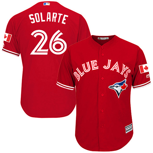 Youth Majestic Toronto Blue Jays #26 Yangervis Solarte Authentic Scarlet Alternate MLB Jersey