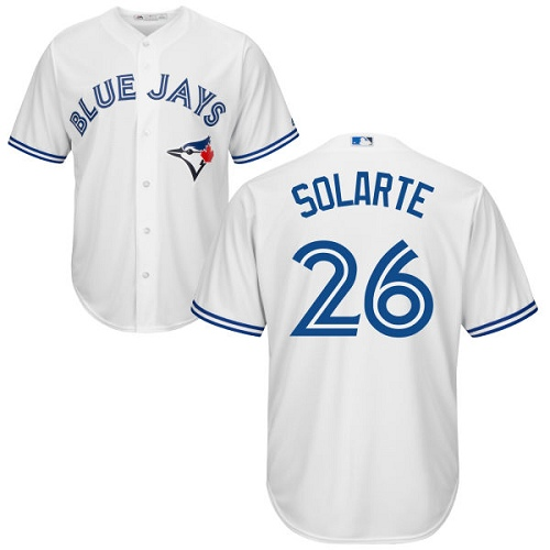 Youth Majestic Toronto Blue Jays #26 Yangervis Solarte Authentic White Home MLB Jersey