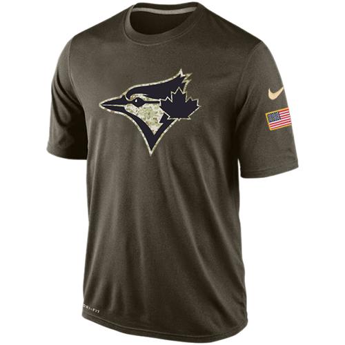 MLB Men's Toronto Blue Jays Nike Dri-Fit Olive Salute To Service KO Performance T-Shirt
