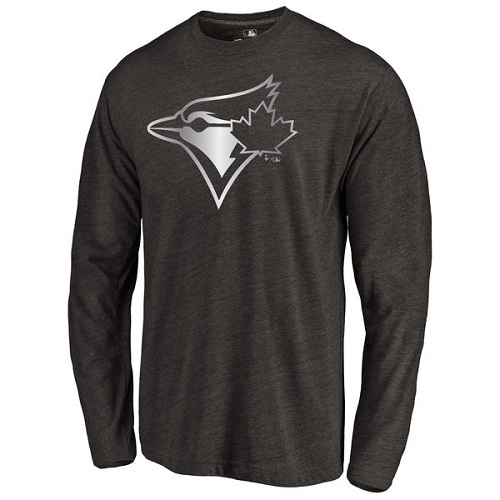 MLB Toronto Blue Jays Platinum Collection Long Sleeve Tri-Blend T-Shirt - Black