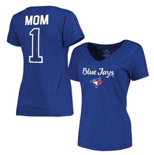 MLB Toronto Blue Jays Women's 2017 Mother's Day #1 Mom V-Neck T-Shirt - Royal