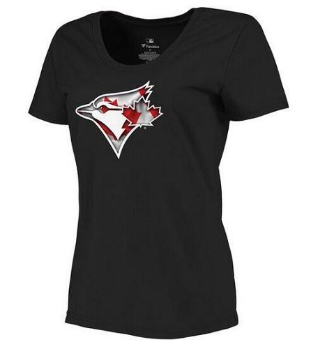 MLB Women's Toronto Blue Jays Navy Banner Wave Slim Fit T-Shirt